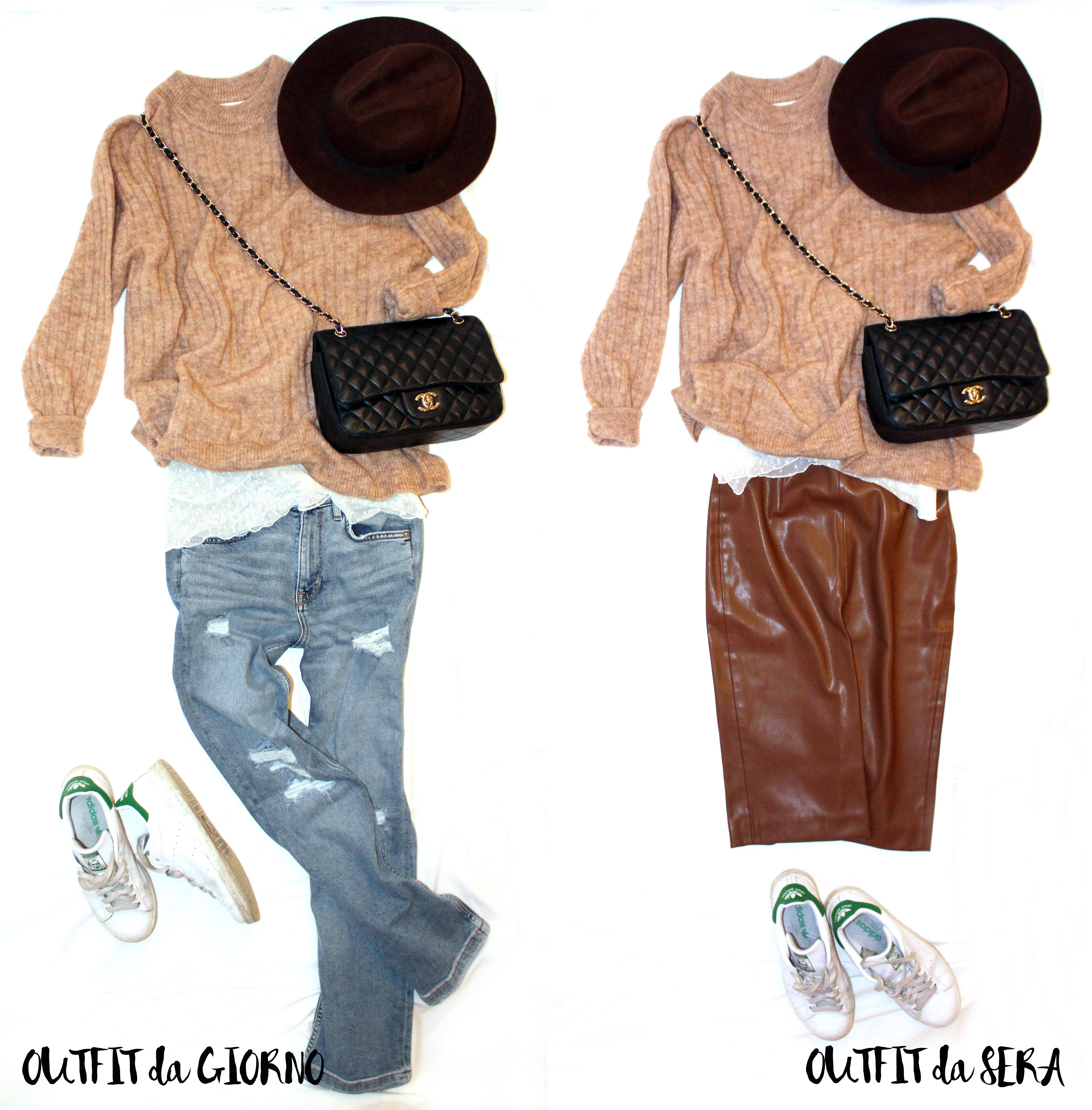 Il mio primo outfit: pull oversize color cammello, maglietta di tulle e cropped jeans. per la sera sostituisco il denim con una gonna di ecopelle e il gioco è fatto!
