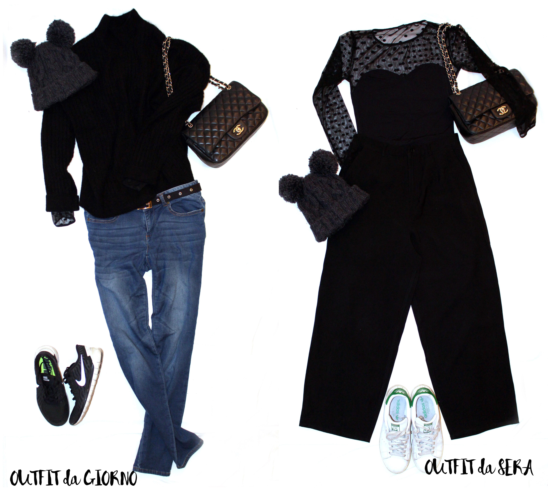 Per il secondo giorno a Parigi: pull di mohair nero, body con maniche in tulle e jeans elasticizzati. Per la sera sostituisco il sotto con dei pantaloni culottes neri e tolgo il maglione ;-)