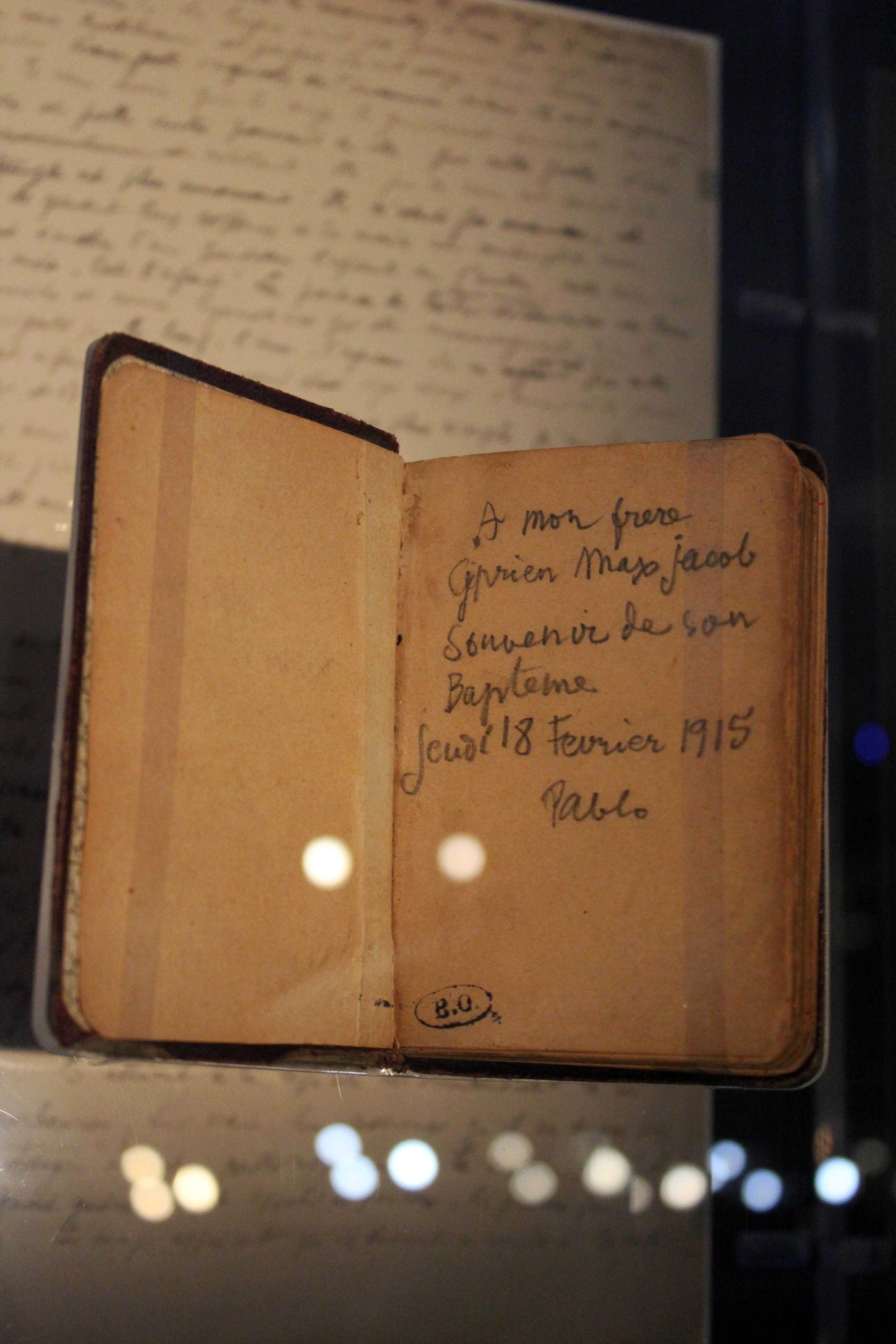 """""""A mio fratello Cyprien Max Jacob Ricordo del suo battesimo Giovedì 18 febbraio 1915 Pablo"""""""